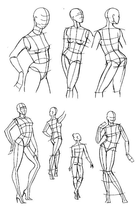 Зарисовка схем фигуры человека в движении