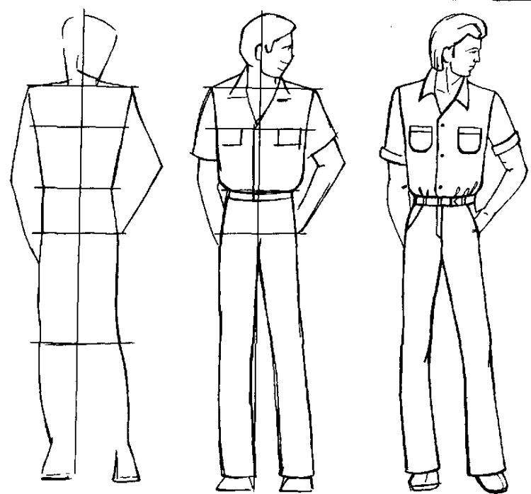 Рисунок карандашом человека в одежде