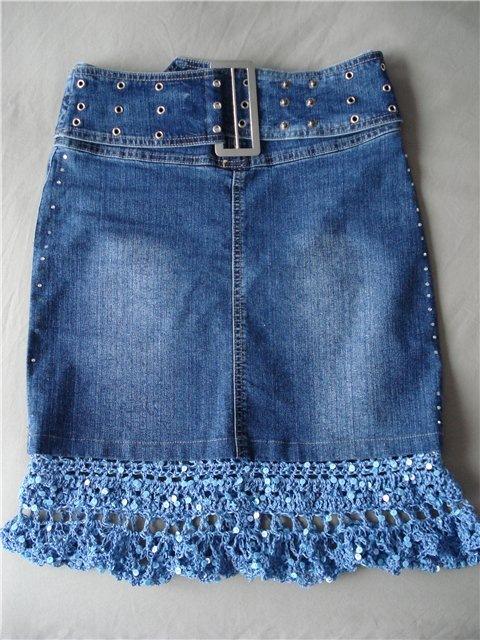 Вязание с джинсовой тканью 64