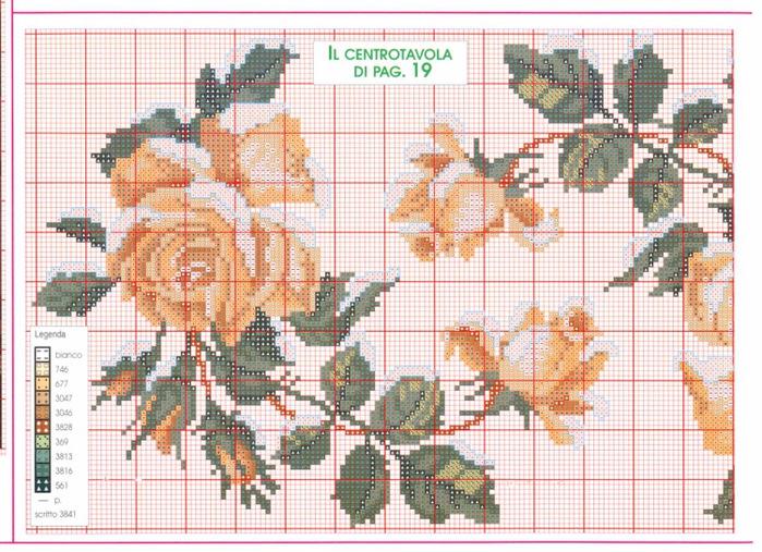 Розовые схемы вышивок крестом 812