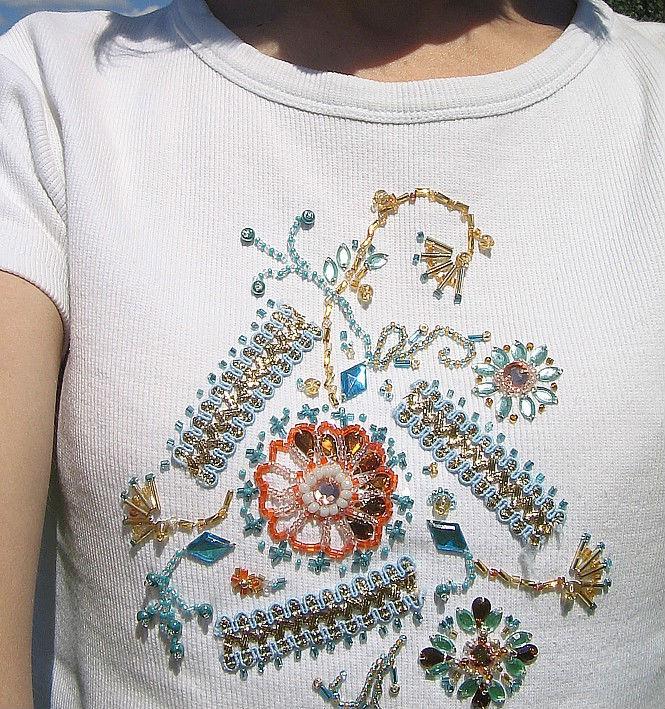 Вышивка бисером на футболке мастер класс 52