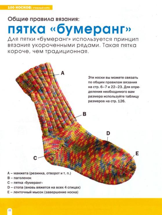 Носки вязанные спицами с пяткой бумеранг