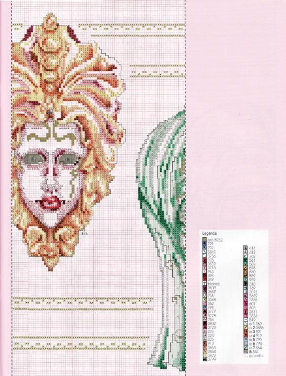 Венецианская маска схема вышивки