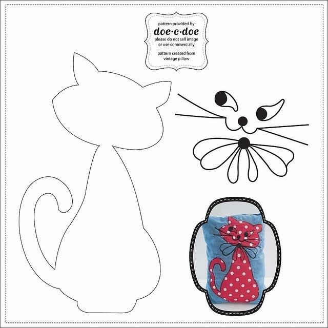 Аппликации на ткани своими руками кошки