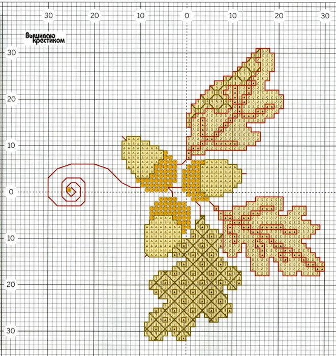 Вышивка крестом схема дуб 58