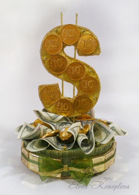 Букет доллар из конфет