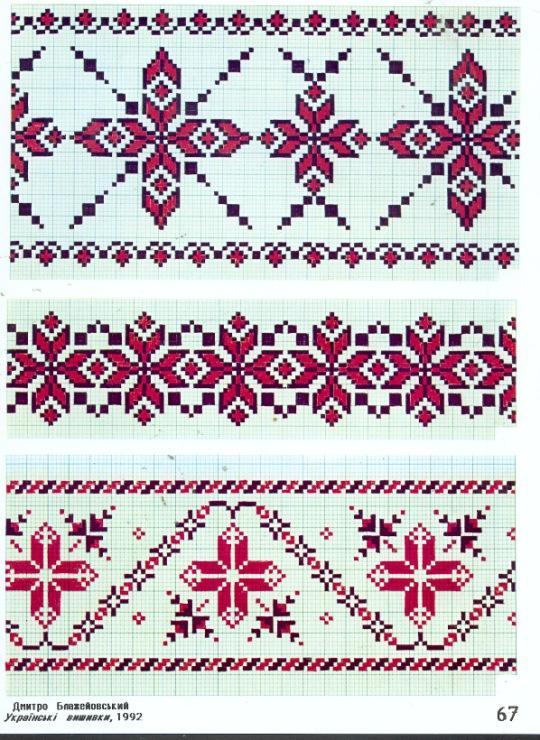 Схема вышивки крестом. Орнаменты русских вышивок. Узоры 1