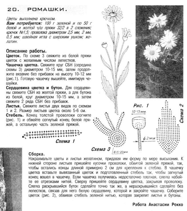 Маргаритки схема вязания 74
